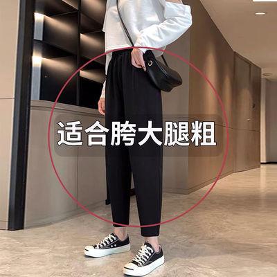 直筒裤女春夏宽松垂感大码显瘦职业阔腿九分休闲裤女黑色长裤西裤