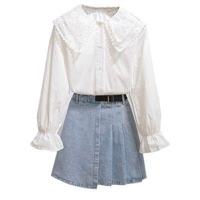 64044/2021秋季新款韩版设计感小众蕾丝娃娃领衬衫牛仔百褶裙两件套洋气