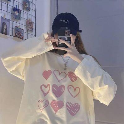 71947/创意爱心小众设计感宽松T恤女学生百搭盐系新款秋装长袖卫衣女潮