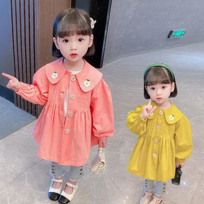 女童秋季风衣外套2021春秋新款韩版中长款风衣洋气百搭女宝宝外套