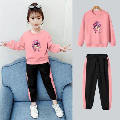 女童套装春秋季2021新款中大童运动休闲韩版小学生洋气长袖两件套