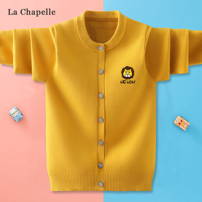 57699/拉夏贝尔女童针织开衫秋冬新款毛衣中大童外套女童纯色印花针织衫