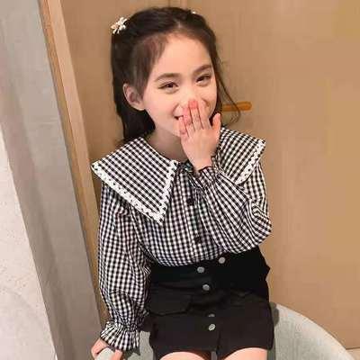 女童衬衫2021春秋装新款儿童装洋气格子长袖衬衣女宝宝上衣娃娃衫