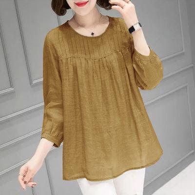 63794/纯色圆领九分袖衬衫女2021秋季新款打底衫大码宽松显瘦遮肚子上衣