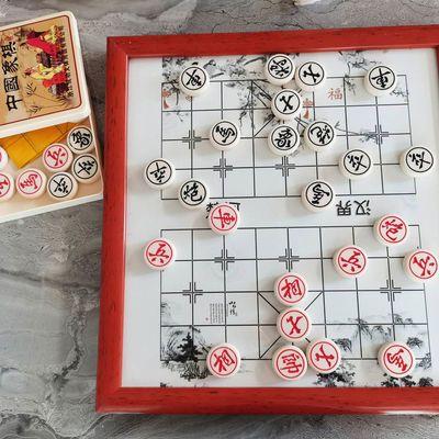 70696/陶瓷象棋棋盘玉化石棋子实木框架定制签名办公室工艺品美观大气
