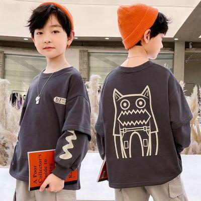 男童长袖t恤秋装新款儿童中大童春秋卫衣洋气时尚男孩打底衫上衣