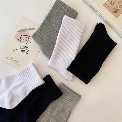 纯色中高筒袜子黑白灰简约学生男女通用百搭运动篮球袜薄春秋款