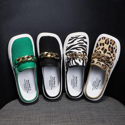 糖果色帆布鞋女夏外穿2021年新款豹纹帆布阿希哥同款丑萌萌鞋单鞋