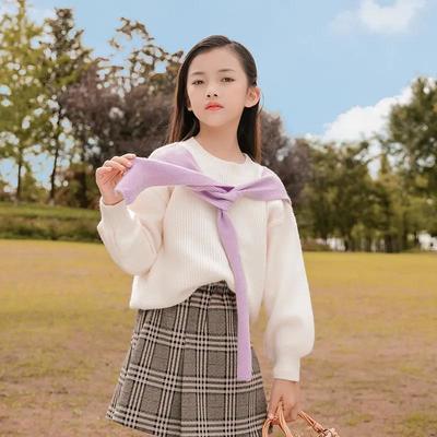 女童秋季毛衣2021新款春秋外套中大童女孩洋气韩版线衣针织衫上衣