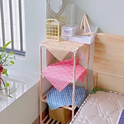 多功能加粗实木落地置物架卧室房间宿舍客厅多层简易原木收纳架