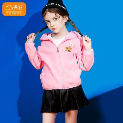 巴拉巴拉旗下棉致童装女童秋冬新款上衣加绒连帽保暖外套简约可爱