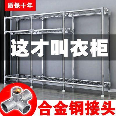 簡易布藝衣柜家用臥室布衣柜出租房用鋼管加粗加固全鋼架收納櫥柜