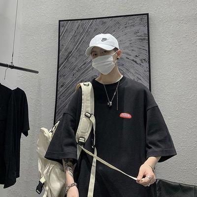圆领短袖t恤男夏季潮流百搭帅气休闲五分袖体恤韩版宽松半袖上衣