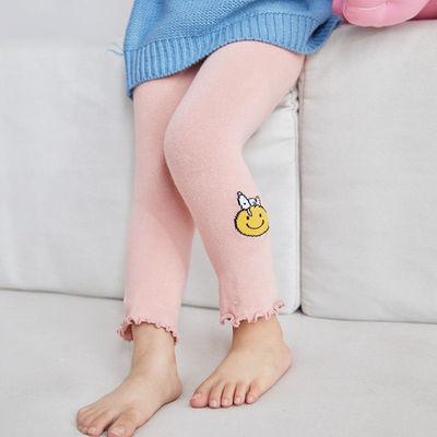 女童打底裤春秋薄款1-3岁女宝宝婴儿小童木耳边可开裆可外穿9分裤