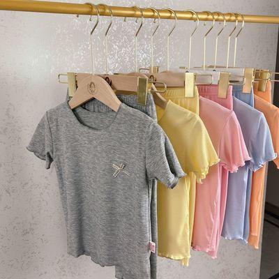 57704/女童夏季莫代尔面膜短袖女宝宝薄款荷叶边可爱洋气弹力家居服套装