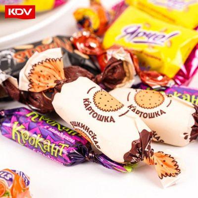 KDV紫皮糖混合糖果巧克力夹心牛奶糖俄罗斯进口零食喜糖散装批发