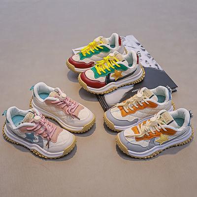 93032/儿童老爹鞋男女童软皮休闲运动鞋2021新款拼色软底跑步鞋