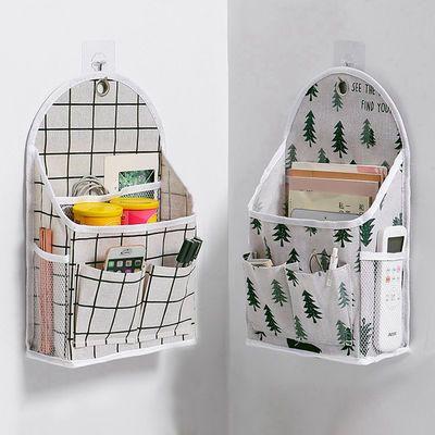 74350/悬挂式格子收纳袋宿舍好物必备床边布艺储物袋墙面置物袋小布袋子