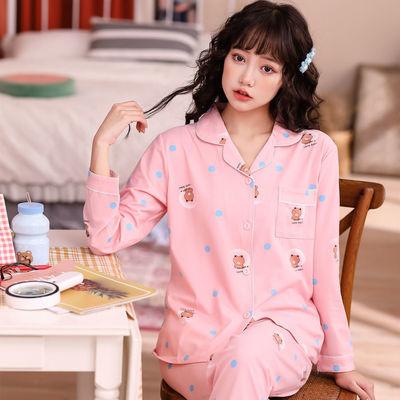 92657/睡衣女秋冬可爱韩版学生套装女秋季棉质春秋家居服女士新款月子服