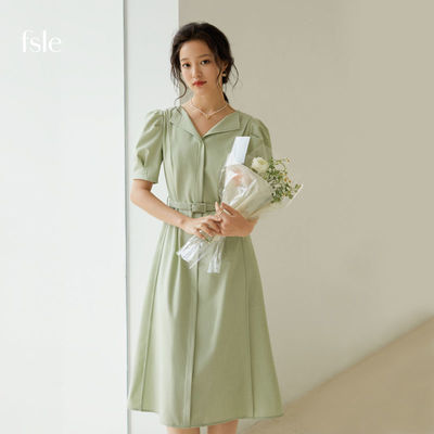 58768/范思蓝恩 2021夏新款法式职业连衣裙女泡泡袖气质修身裙子211131