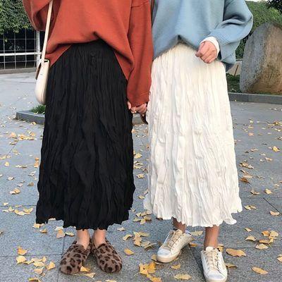 73618/2021新款白色百褶裙中长款女裙子ins超仙学生韩版高腰a字裙半身裙