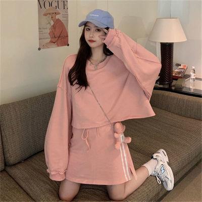 75712/卫衣半身裙两件套秋季2021新款学院风粉色短款无帽宽松长袖上衣女
