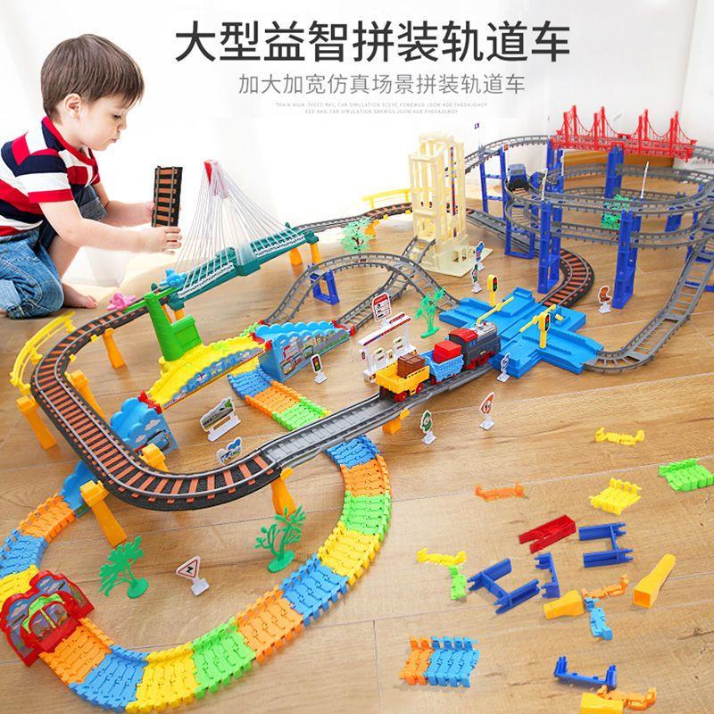 活石小火车玩具轨道车男孩3岁益智电动汽车高铁赛车儿童智力5动脑