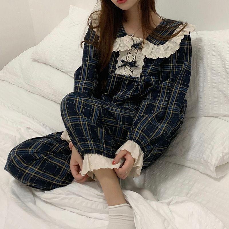 睡衣女秋季2021新款可外穿宽松慵懒风休闲家居服格纹蕾丝两件套装