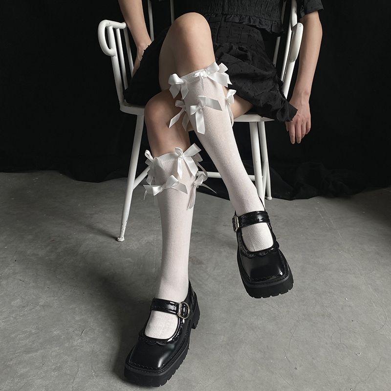 2021初秋新款满满蝴蝶结韩风jk棉袜少女中筒袜lolita可爱堆堆袜潮