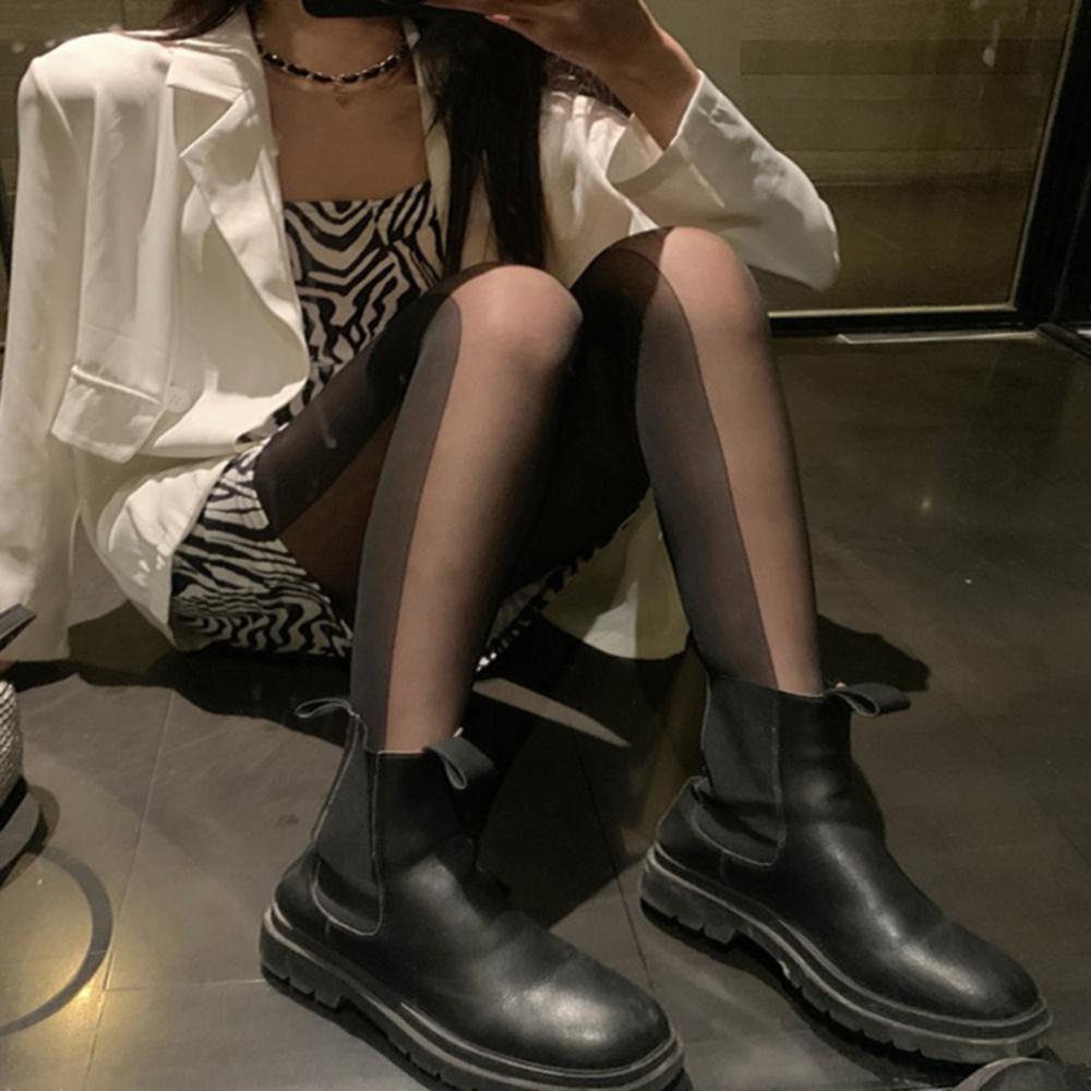 2021年秋季新款韩版日系辣妹性感黑色情调丝袜侧边双拼连裤袜子女