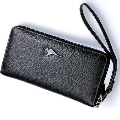 头层牛皮制作新款袋鼠男士包包真皮手包牛皮手拿包休闲钱包手机包