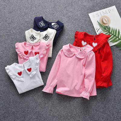 女童秋装1岁3儿童娃娃领上衣女婴儿衣T恤长袖春秋公主2宝宝打底衫