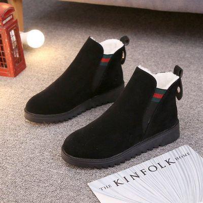 女鞋2019年新款秋冬季短靴棉鞋加绒百搭秋冬款冬鞋平底一脚蹬磨砂