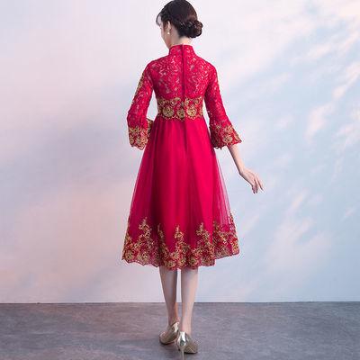【新娘】孕妇敬酒服新娘秋2018结婚新款红色回门礼服【2月29日发完】