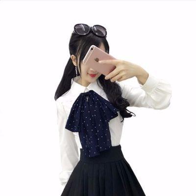 2019秋季新款韩范优雅蝴蝶结衬衫职业女装长袖白色衬衣打底上衣