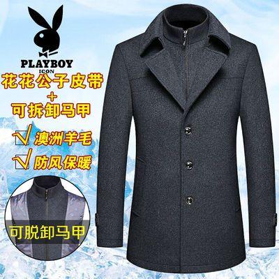 花花公子冬季外套爸爸装中长款羊毛呢大衣男中年男士加厚毛呢夹克
