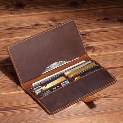 复古疯马皮钱包男真皮长款男士商务牛皮手机包大容量零钱卡包