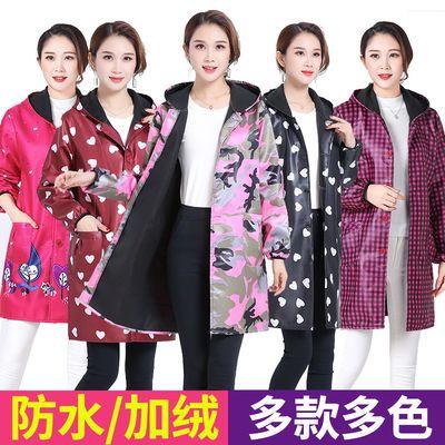 加绒罩衣成人加厚秋冬时尚防水厨房长袖防油工作服韩版男女士围裙