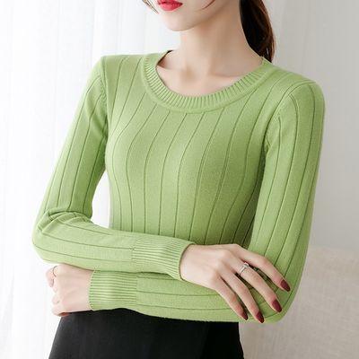 百搭修身显瘦圆领打底衫秋冬新款纯色大码毛衣女长袖短款针织衫