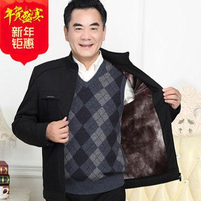 中老年人男士夹克秋冬季加绒加厚款时尚休闲立领款爸爸装爷爷外套