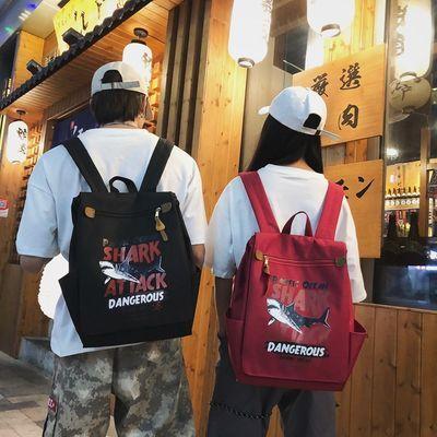 鲨鱼方包双肩包男女休闲背包简约包包男女学生书包时尚潮流背包