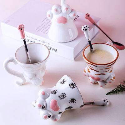 陶瓷猫爪杯可爱水杯带勺情侣少女心创意办公家用咖啡马陶瓷马克杯