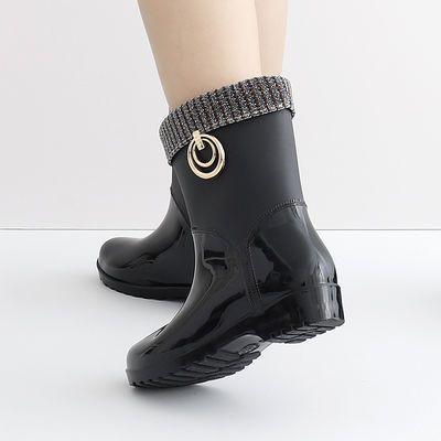 时尚保暖雨鞋女式防滑加绒雨靴防水鞋水靴加棉胶鞋成人套鞋韩国
