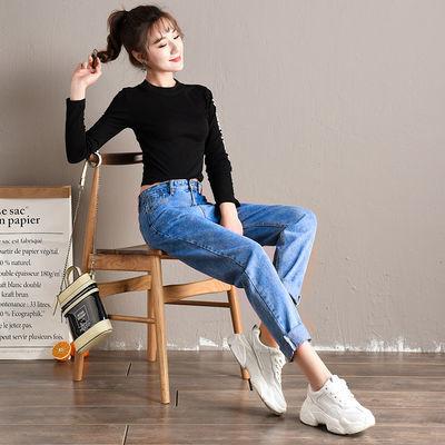 白色浅蓝牛仔裤韩版显瘦高腰宽松薄款哈伦休闲老爹裤百搭九分裤
