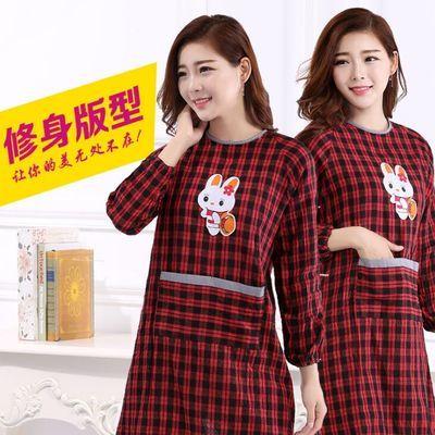 邮纯棉韩版时尚成人罩衣长袖围裙防水防油反穿衣女带袖厨房围裙包
