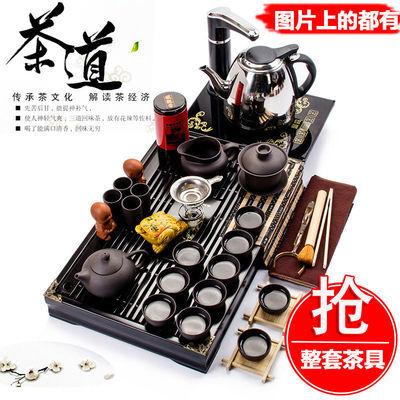 聚森功夫茶具套装家用整套实木茶盘特价紫砂泡茶壶杯陶瓷玻璃配件
