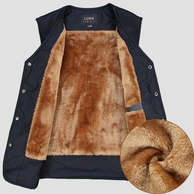 冬款中老年男装棉马甲加绒加厚坎肩男棉衣爸爸装外套老人保暖背心
