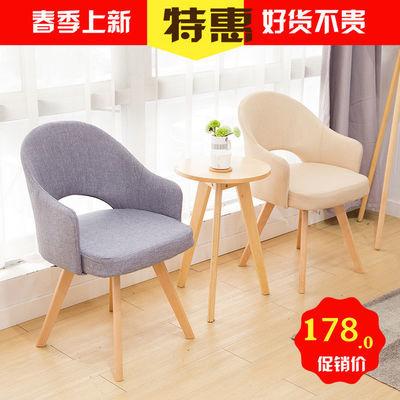 北欧椅子实木单人现代简约风格餐椅家用电脑椅舒适凳子靠背咖啡厅