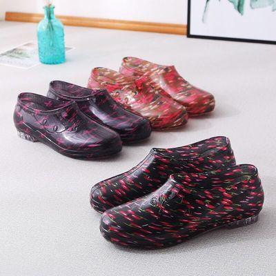 四季包邮低帮浅口女士雨鞋时尚流行防水鞋套鞋加绒防滑底防水胶鞋