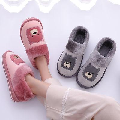 全包跟棉拖鞋男情侣秋冬季家居家室内厚底防滑保暖女士月子棉拖鞋